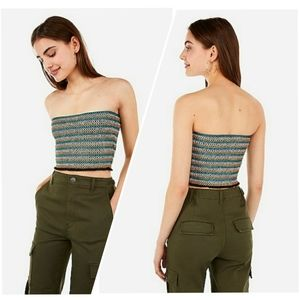 Express Embroidered Smocked Cropped Tube T…